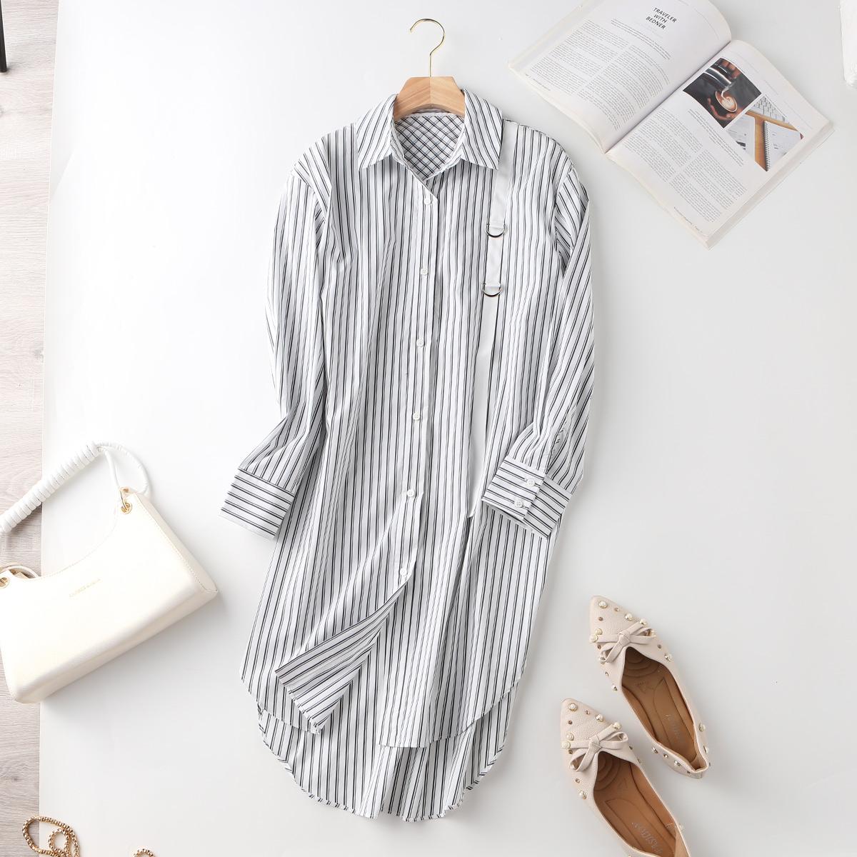 Shibaoer fashion stripe contrast color shirt womens long sleeve autumn new cardigan womens top
