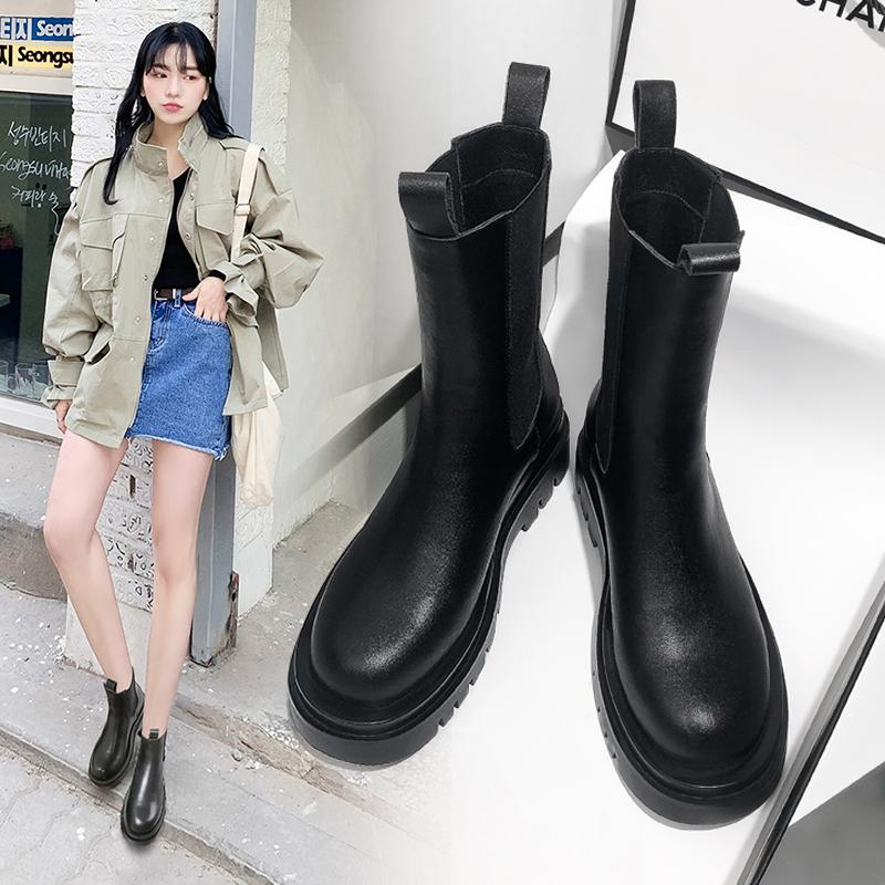 马丁靴女潮ins酷秋冬新款加绒加厚真皮中筒瘦瘦短靴切尔西烟筒靴