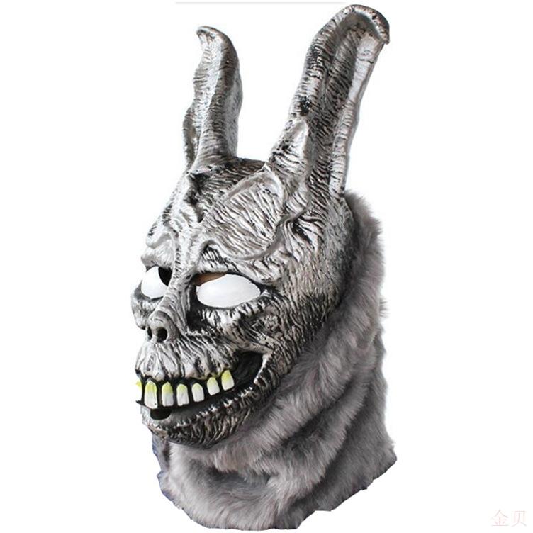 死亡幻觉弗兰克兔面具邪恶银兔动物头套万圣节乳胶面具影视道具