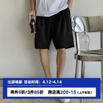 夏季西装短裤男黑色ins港风垂感日系运动休闲五分中裤宽松薄款潮