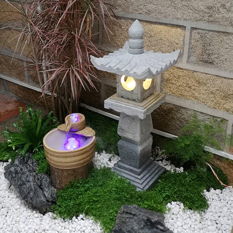 石灯笼日式庭院灯仿古中式石灯塔石头灯草坪灯落地石灯选配太阳能