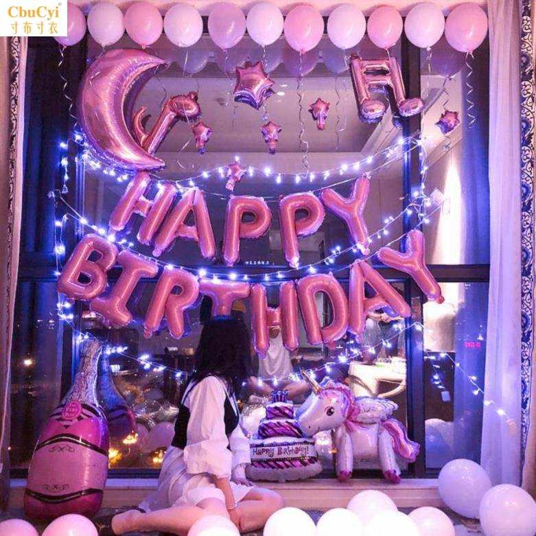 女友家庭字母生日快乐气球卡通场景布置充气数字小孩可爱石榴红卧