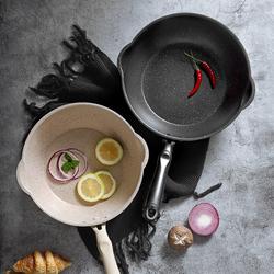 麦饭石不粘锅小型家用炒菜锅小号煎炒两用电磁炉专用炒锅1-2单人