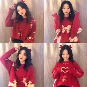 慵懶風套頭毛衣女裝秋冬2019新款韓版寬松網紅加厚新年紅色針織衫