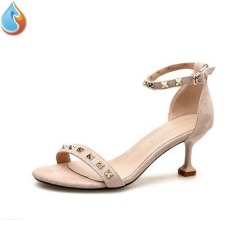 Spring 2020 new sandals womens net red thin heel all in one word buckle high heels summer fashion open toe sandals