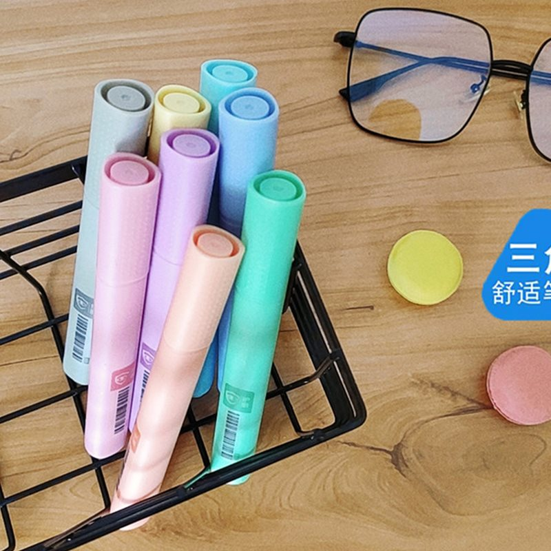 Macarone fluorescent pen triangle pen holder large capacity eye protection marking pen for students soft color marking pen