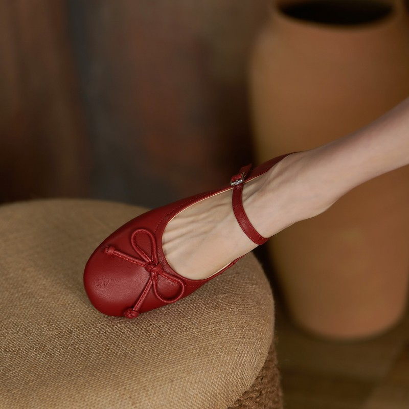 High grade brand 2021 new autumn shallow mouth flat bottom one line ballet shoes Retro Red Mary Jane flat heel