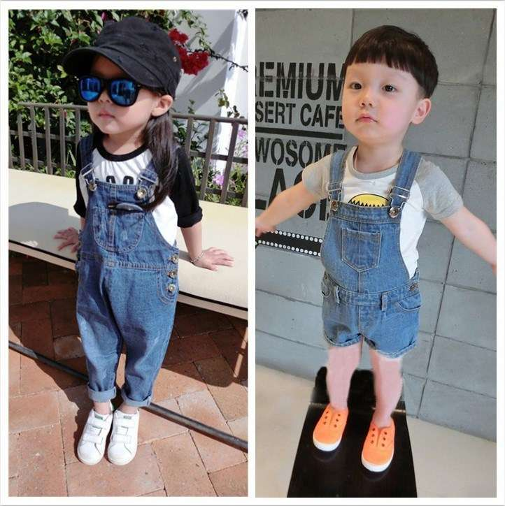 Children 1-2-3-4-5-6 years old boy boy boy girl girl spring summer suspender strap Jeans Shorts