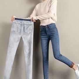 加绒加厚牛仔裤女九分保暖带绒小脚裤子外穿