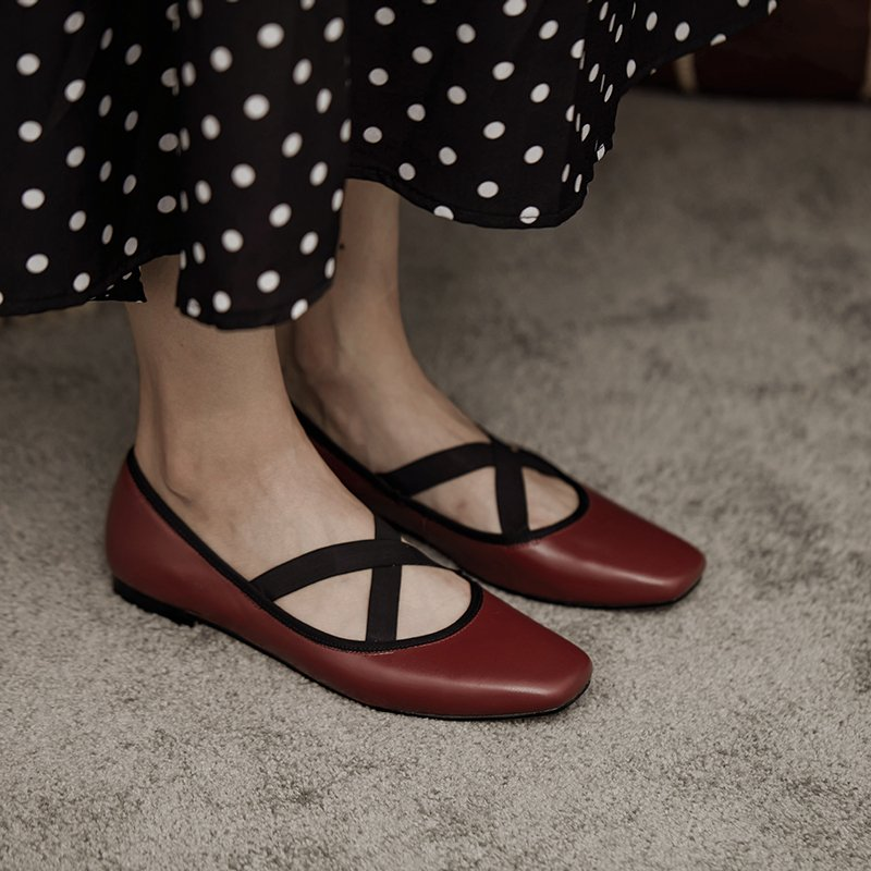 High grade wine red square head light mouth leather autumn new cross strap ballet retro flat sole shoes