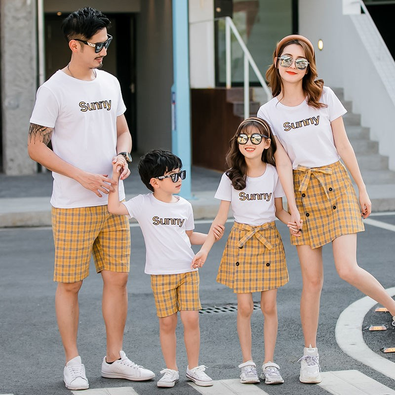 Parent child clothing summer family three four father son mother daughter T-shirt suit parent child photo family casual family dress