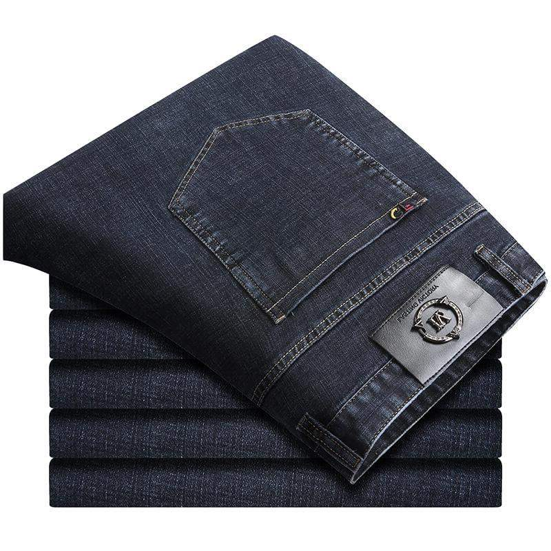 This is a brand of Pangge autumn jeans for mens fattening Plus Size Medium waist casual pants with large micro elasticity