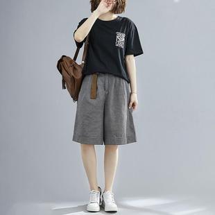100棉套装女2021夏装新款大码女装韩版宽松休闲阔腿短裤两件套