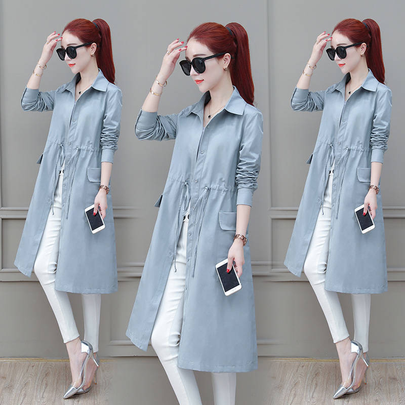 Fashion windbreaker womens middle and long style spring and autumn 2020 new style waist closing temperament thin large moms coat