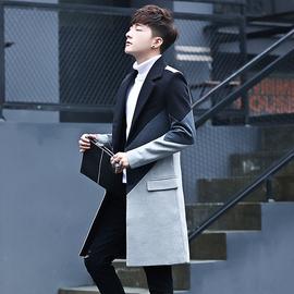 秋季風衣男中長款潮牌毛呢大衣男士韓版帥氣修身過膝呢子外套秋冬圖片