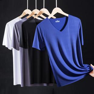 冰丝t恤男短袖无痕v领宽松运动速干体恤夏季纯色薄款半袖打底衫潮