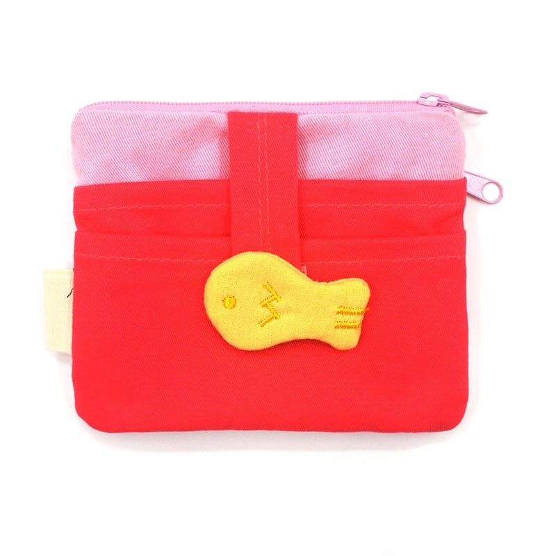 Strawberry cat Korean version of cute cartoon creative cotton handmade fabric women coin change purse magic card.