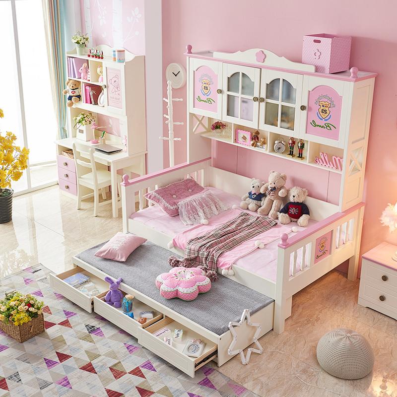 子供用ベッド全裸のクローゼットベッドの女の子のピンクの王女ベッドの一体多機能グループの男の子の青いシングルベッド