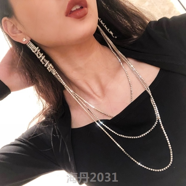 One piece necklace with chain earrings for womens fashion