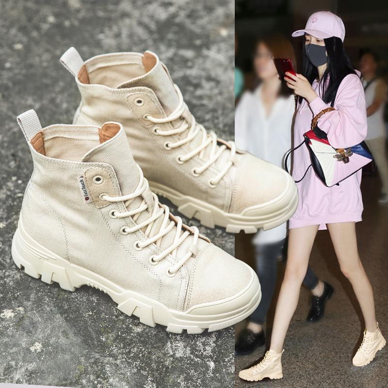 韩版百搭帆布马丁靴女夏季透气薄款瘦瘦鞋网红复古沙漠帅气短靴女