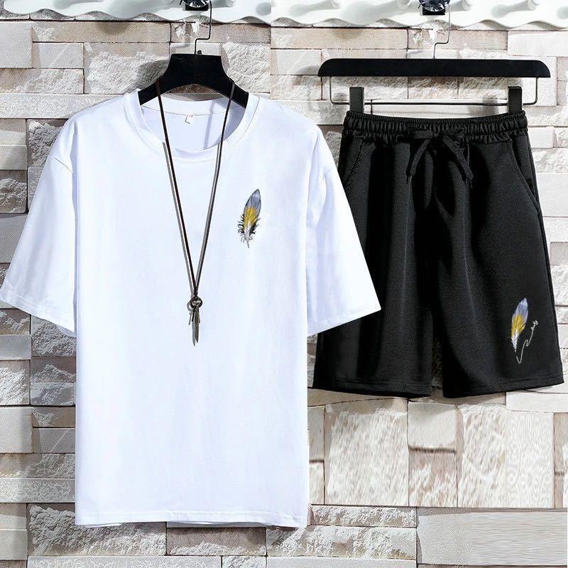 夏季运动套装男短袖运动服青少年短裤大码休闲套装两件套夏装潮男