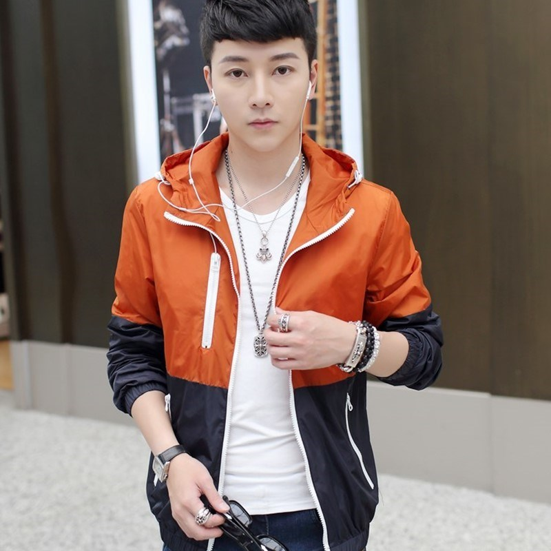 Spring and autumn wear mens jacket sports coat with hat college students coat with hat autumn dress 18-20-25-30 years old