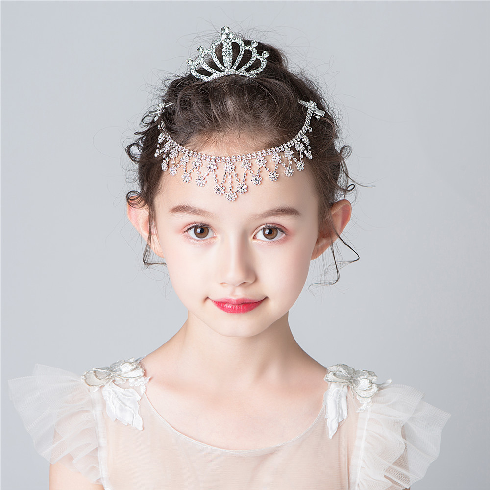 New childrens hair accessories alloy inlaid with Diamond Flower Princess chain forehead chain stage performance head chain princess skirt with suit