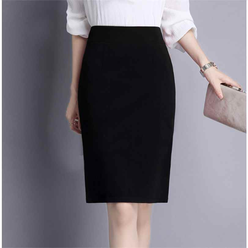Professional skirt, half skirt, buttock skirt, high waist one-step skirt, working group, medium long black and knee suit skirt, spring