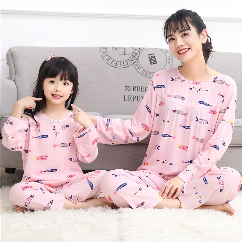 夏季棉绸儿童小孩睡衣套装薄款女童绵绸纯棉春秋亲子装家居服宝宝