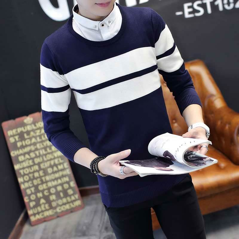 . Autumn sweaters, mens fashion, new clothes, Korean leading knitwear, collared, Korean students thread clothes are popular