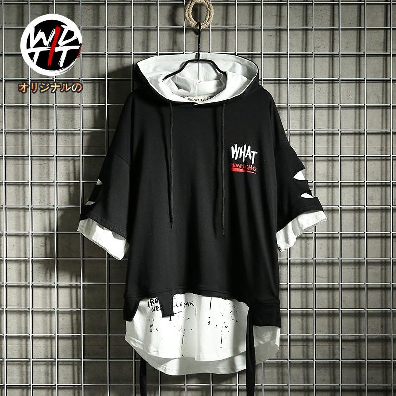 香港it夏日系潮牌嘻哈带帽短袖卫衣男个性飘带破洞假两件连帽T恤