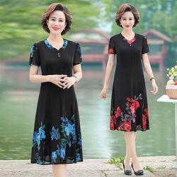妈妈夏装裙子40-50岁中老年女装高贵中年女士雪纺夏天连衣裙新款