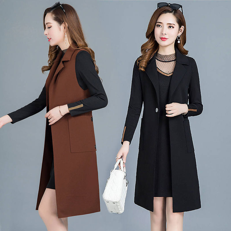 Woolen vest womens clothing in the spring and autumn of 2020 new sleeveless vest cardigan fashion versatile medium and long coat womens fashion