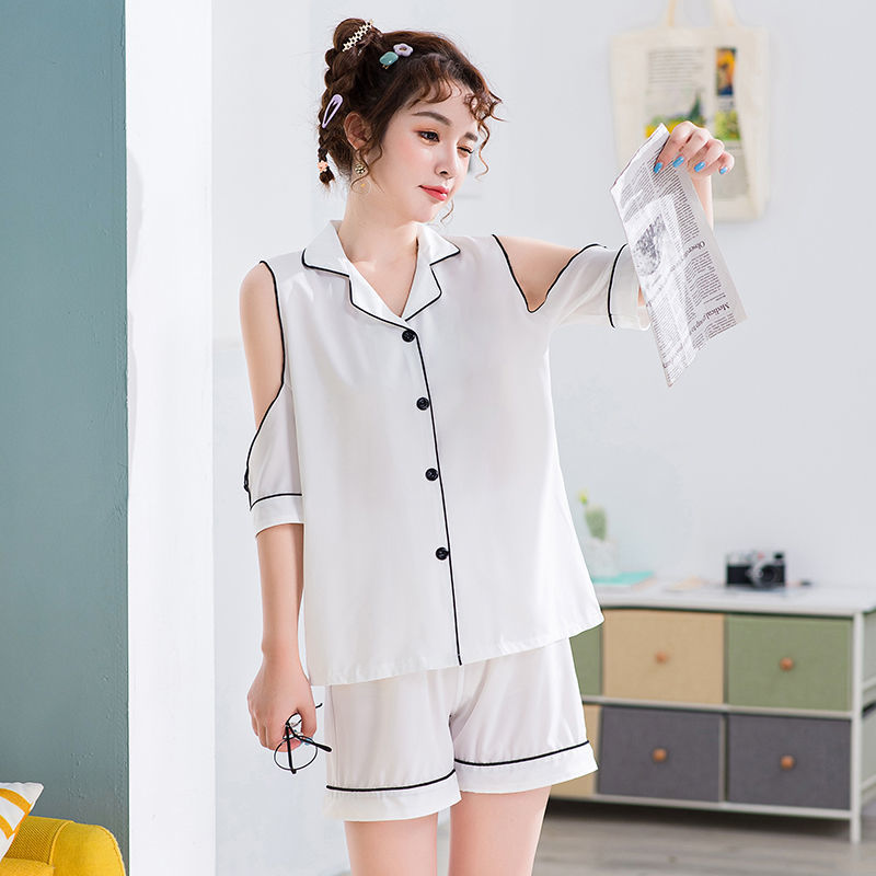 Pajama girl summer ice silk short sleeve thin Korean lovely off shoulder Sexy Student silk home suit