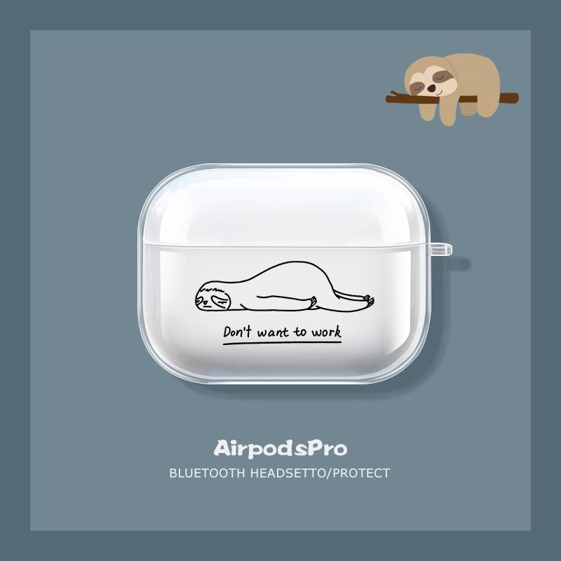 桔子猫airpods保护套airpodspro超薄透明苹果无线蓝牙耳机防摔软壳1/2代简约ins潮牌有趣AirPods创意不想上班
