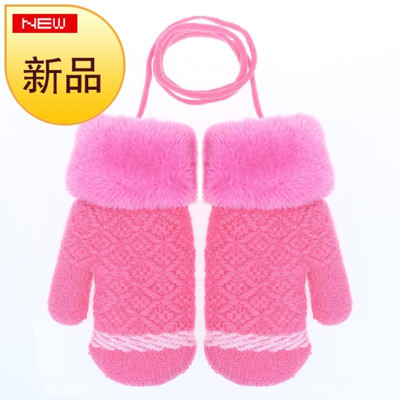 秋冬季可爱幼儿童手套保暖加绒小孩宝宝男生女童女孩手套j1-3-6岁