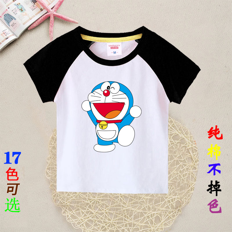 Childrens short sleeve summer wear new boys wear baby Doraemon cartoon half sleeve crew neck cotton T-shirt
