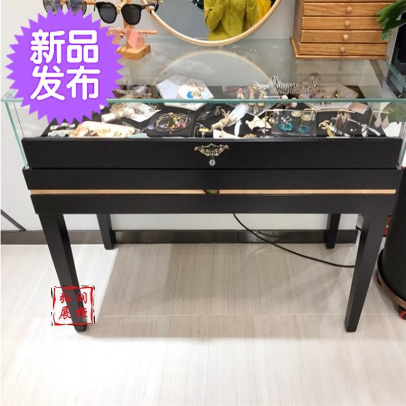 饰品展示柜玻璃小型 店铺展示柜 透明 迷你首饰展示柜 玻66璃小型