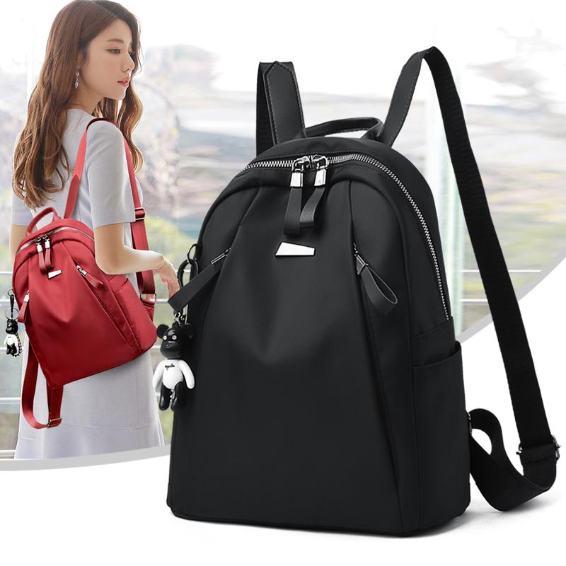 牛津布双肩包女2020新款韩版时尚百搭书包休闲旅行包包帆布小背包