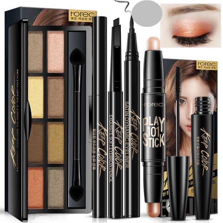 时尚彩妆套装初学者全套防水眼影眉粉套装组合化妆品学。
