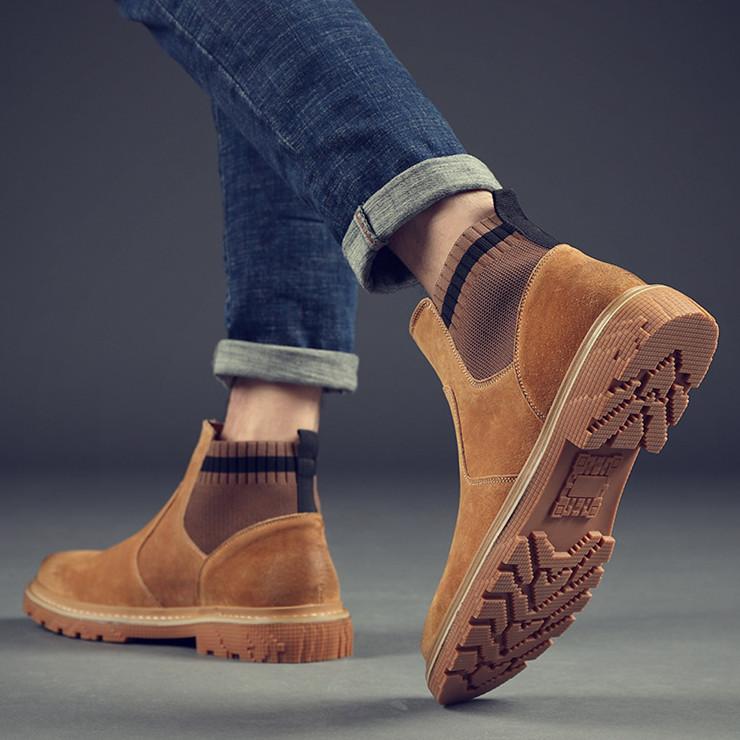 马丁靴男秋季无鞋带一脚蹬男土靴子韩版黄色高帮男鞋英伦工装短靴