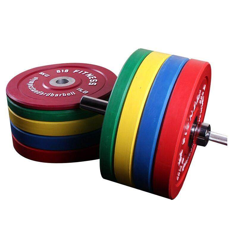 818 training equipment full weight full plastic color barbell piece weight lifting piece gym can drop piece big hole Olympic piece