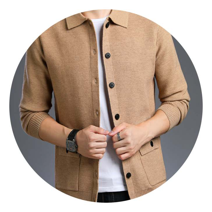 7n solid color sweater mens sweater Lapel cardigan spring and autumn loose knit shirt solid color button casual coat