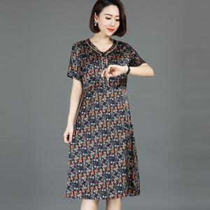 夏季新款桑蚕丝女短袖印花连衣裙