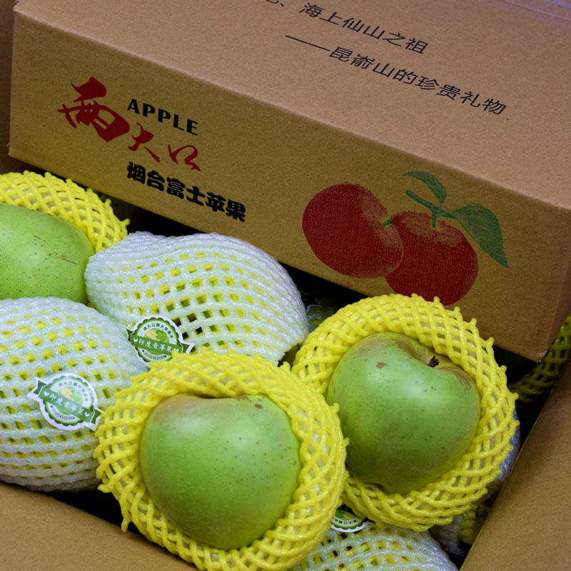Two big mouth 85T medium big fruit old authentic India green Yantai specialty fresh fruit ice sugar heart Apple net 5 jin