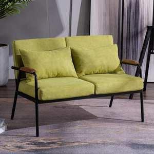 新款北欧布艺 小户型客厅双人组合椅 办公家用铁艺沙发浙江省组装