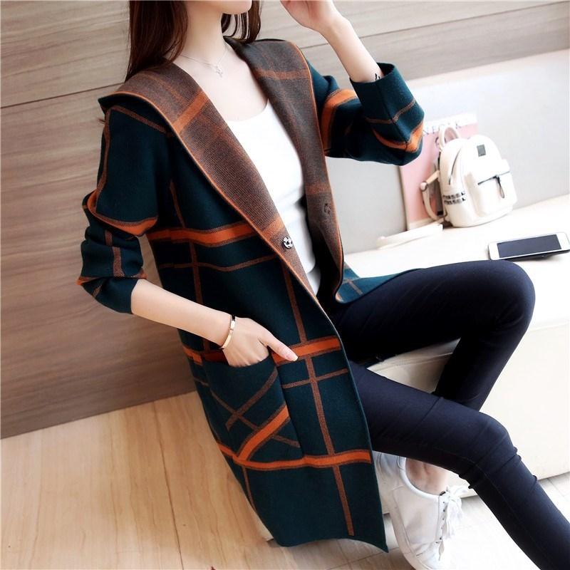 Hongdian. New cardigan Korean version medium long spring and autumn early spring knitting coat womens sweater spring womens dress
