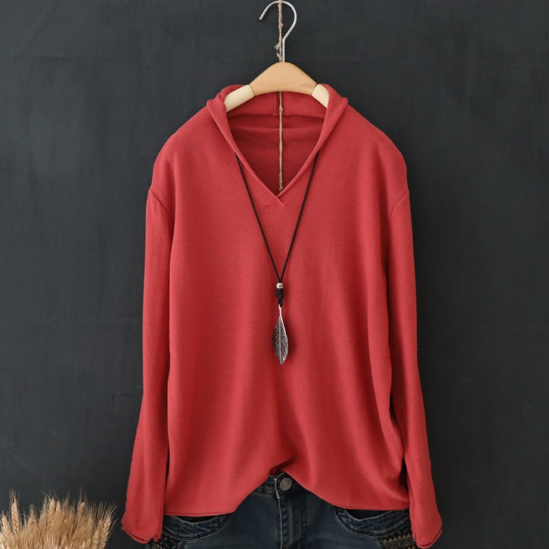 Spring 2019 large womens long sleeve bottomed T-shirt top cover small solid thin sweater cotton T-shirt