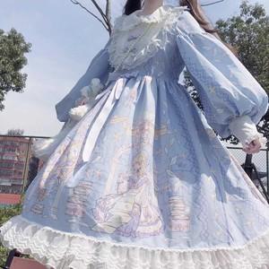 秋冬软妹连衣裙2019新款可爱萝莉套装长袖lolita天使柄op洛丽塔仙