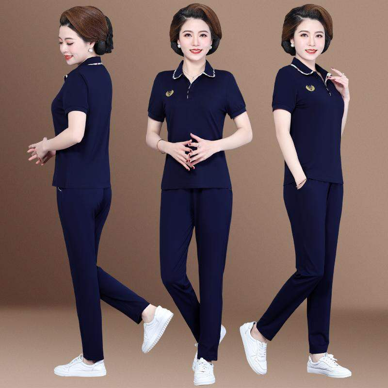 Top grade hot selling mom summer suit 2020 new middle aged and elderly womens summer Lapel short sleeve top large size width